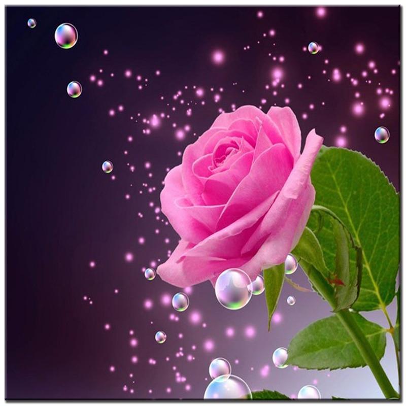 Ružičasta ruža rukotvorstvo DIY dijamant slikanje križ bodom kap - Umjetnost, obrt i šivanje