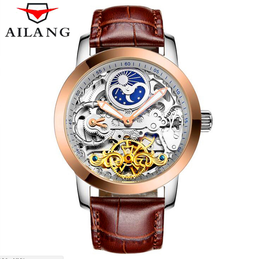 AILANG 2017 New Luxury Casual Clock Men Automatic Watch Skeleton Business Watch Mechanical Relogio Male Montre Watch Mens Reloje