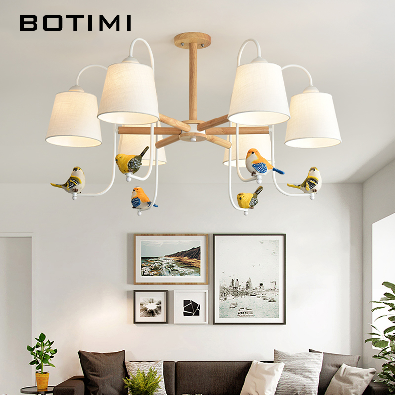 BOTIMI Fabric LED Chandelier For Living Room colorful Birds Chandelier Lighting White Lustre Bedroom Lustre Wooden Hanging Lamps