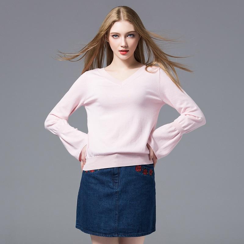 Nouveau 2018 Chandail Assortie Flare Pur Tous Simple Euro Mode V Pull Jersey Pink Style Col Femmes Manches Tricoté Couleur 1CWxnEHCc