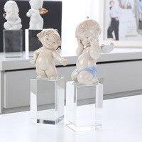 Creative Nordic Crystal Ceramic Angel Decoration Home Desktop Soft Model Decoration Crafts