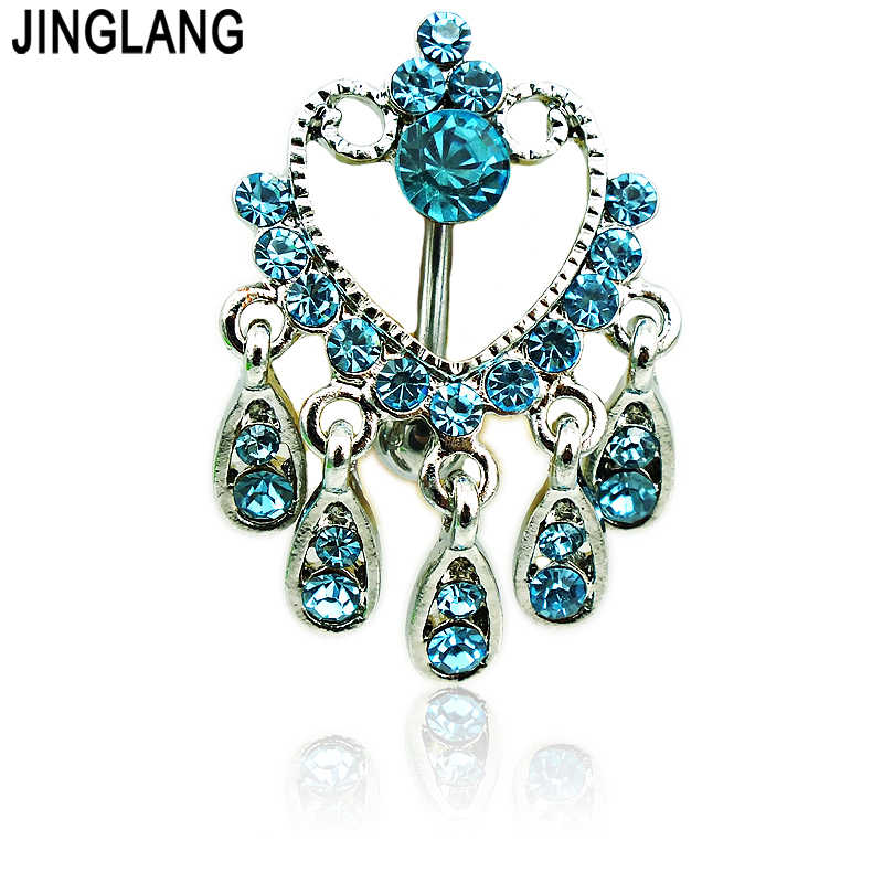 JINGLANG Bạc Màu Belly Button Nhẫn Stainless Steel Barbells Dangle Hồ Xanh Rhinestone Navel Nhẫn Piercing Body Jewelry
