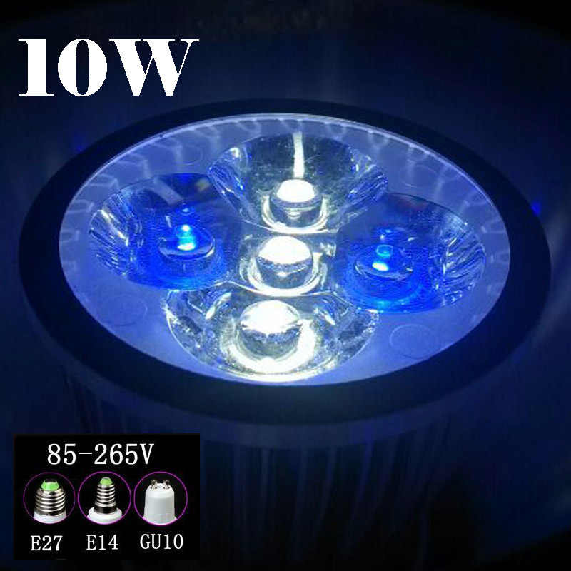 10W E27 E14 GU10 LED Aquarium Lights, Blue & White & Green For Fish Tank Lighting Aquatic Plants And Corals Lights spotlight