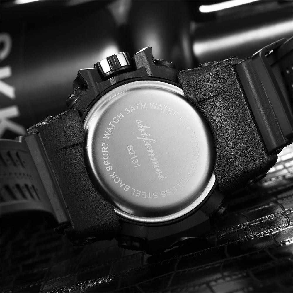 Montre homme étanche Double coeur LED luminescente multi-fonction Sport reloj de hombre relogio masculino horloge numérique homme