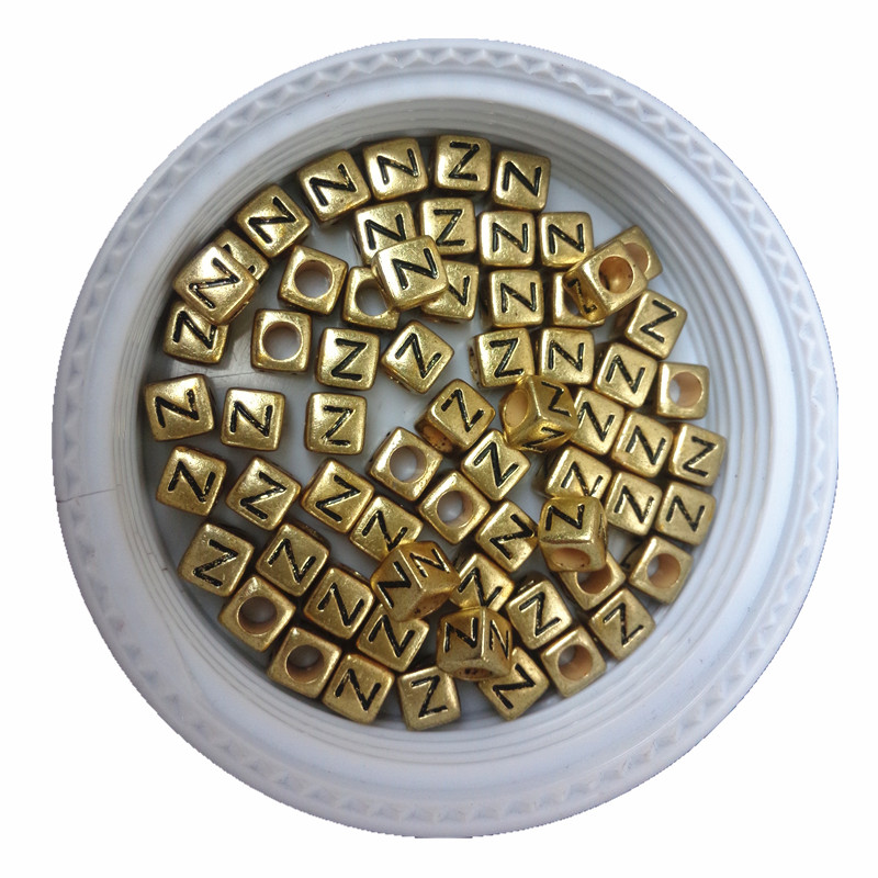 Beads 500pcs 2600pcs 6*6mm Gold Color Acrylic Plastic Letters Beads Single English Character Initial Z Printing Jewelry Pacer Beads Beads & Jewelry Making