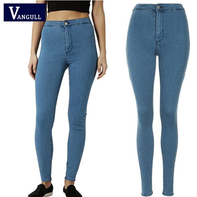 Das Mulheres da forma calças de Brim 2017 Nova Primavera Outono de Cintura Alta Skinny Slim Denim Jeans Casual Calças Longa Lápis Calças Elásticas roupas