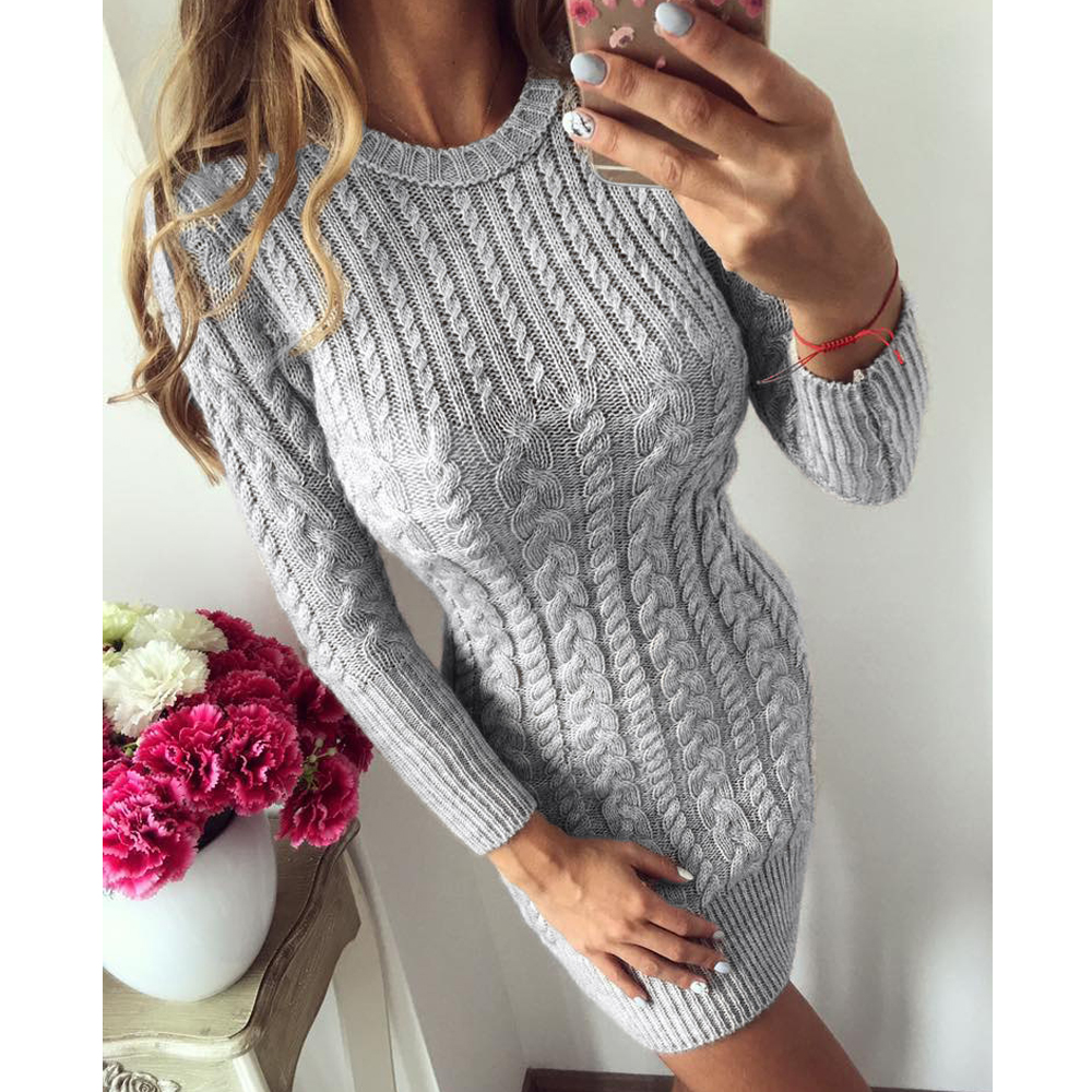 Missord 2019 Autumn And Winter Sexy  O Neck Long Sleeve Pullover Twist Solid Color Bodycon Knitted Sweater Dress FT19642