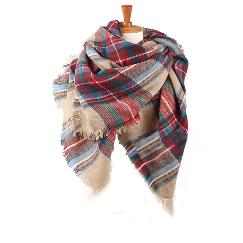 Winter Blanket Scarf for Women Large Size Square Plaid Quality Imitation Cashmere Scarf Tassel font b