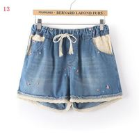 Denim Shorts High School Students Summer Flower Print Little Girl Tight Waist Belt Hot Pants Summer