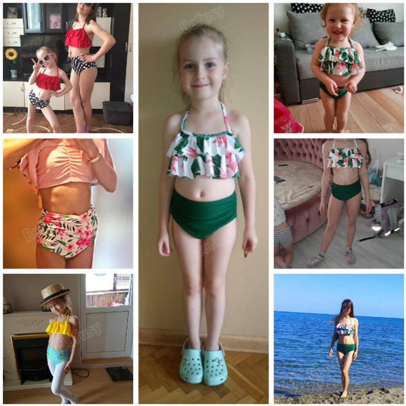 Одинаковые Семейные купальные костюмы для мамы и дочки; бикини; купальник для мамы и дочки; купальные костюмы для маленьких девочек; пляжная... 17