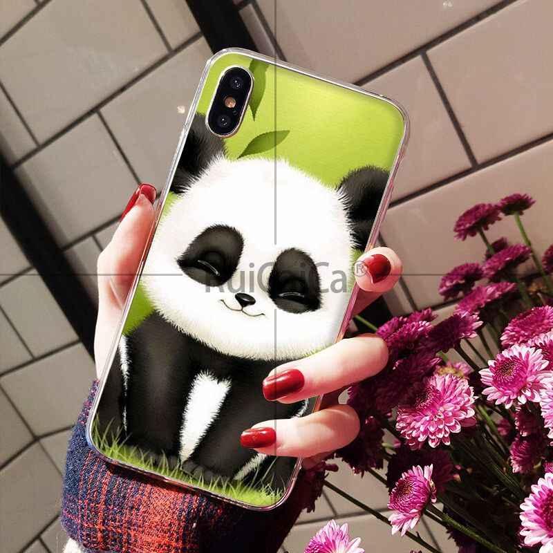 Ruicaica miłość śmieszne panda nowo przybyłych przezroczyste etui na telefon komórkowy dla iPhone 8 7 6 6 S Plus 5 5S SE XR X XS MAX Coque Shell