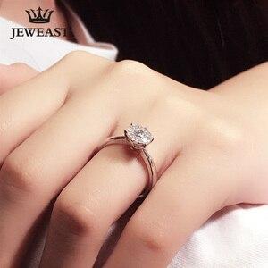 Image 4 - 18K 골드 다이아몬드 반지 여자 여자 애인 커플 선물 자연 대형 다이아몬드 클래식 여섯 발톱 1CT 2CT 캐럿 정품 웨딩 제안