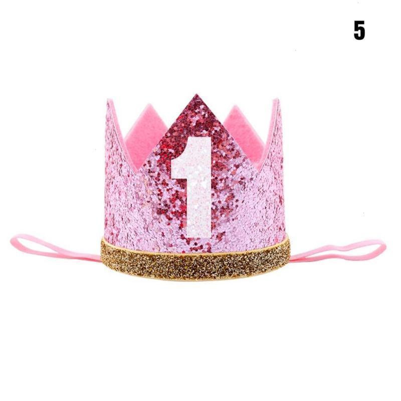 Baby Girl First Birthday Party Hats Decor Cap Hairband Glitter Princess Queen Crown Headband 1st 3rd