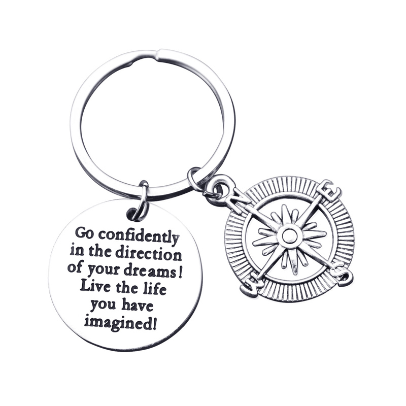 Compass Keychain Stainless Steel Key Ring Key Chain Inspirational Jewelry Back to School Gift Go confidently in the direction..