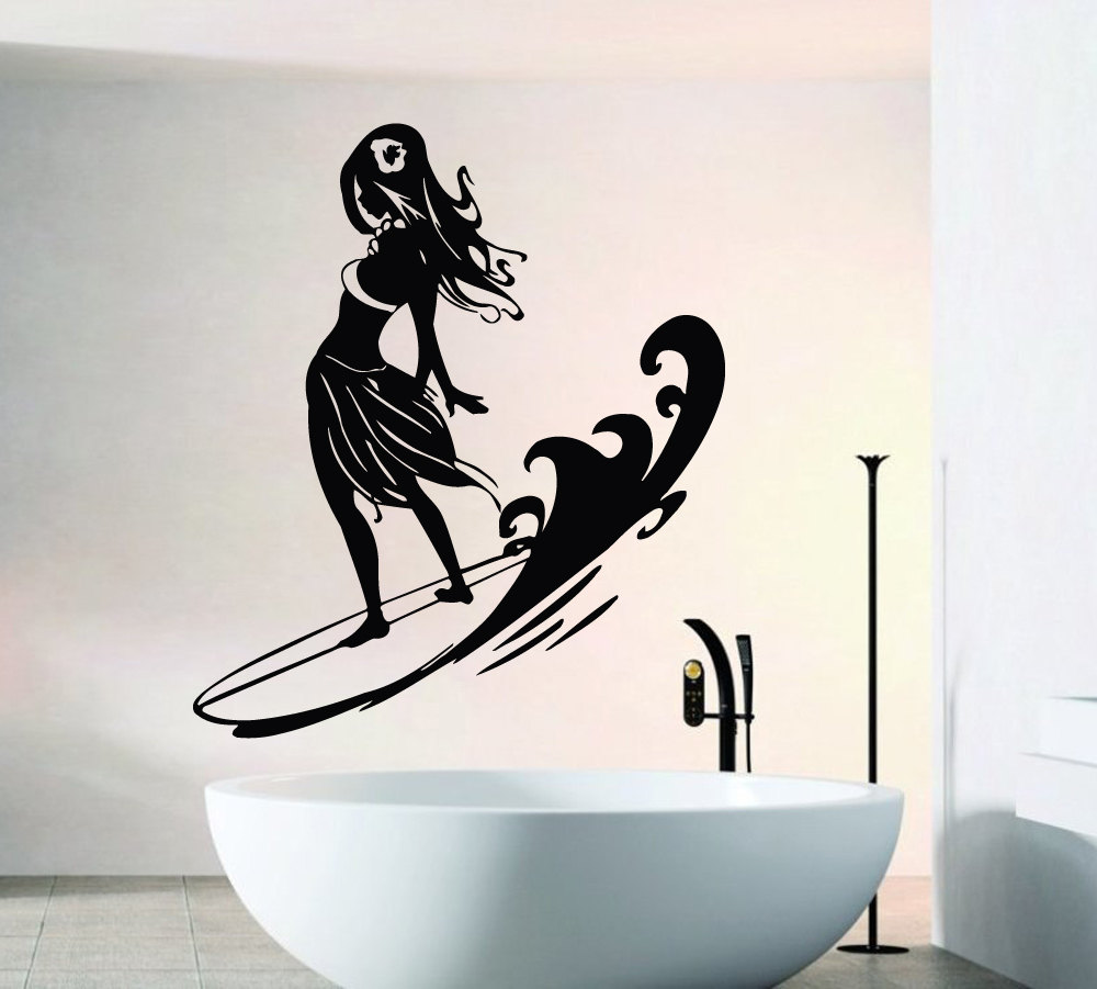 Cool Girl Standing On Surfboard Wall Stickers Home ...