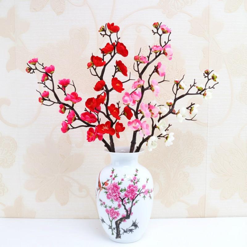 5 pcs Artificial Flowers plum Bonsai Ceramic Vase Chinese Style Decor Flowers Bouquet Silk Fake Flowers Home Wedding Decorative