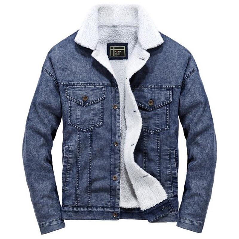 f3c58face53c8 Veste Chaud bleu Jeans Hommes Fourrure Denim Vestes Mode Down Turn ...