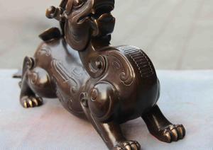 Chinse Royal Copper Bronze Feng Shui Lucky Wealt Foo Dog Lion Beast Brave troops