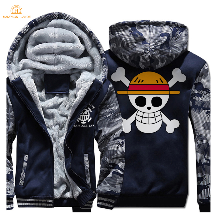 HAMPSON LANQE Japan Anime One Piece Luffy Skull Fashion Zipper Hoodies Men 2019 Winter Warm Plus Size Sweatshirts Men's Coat