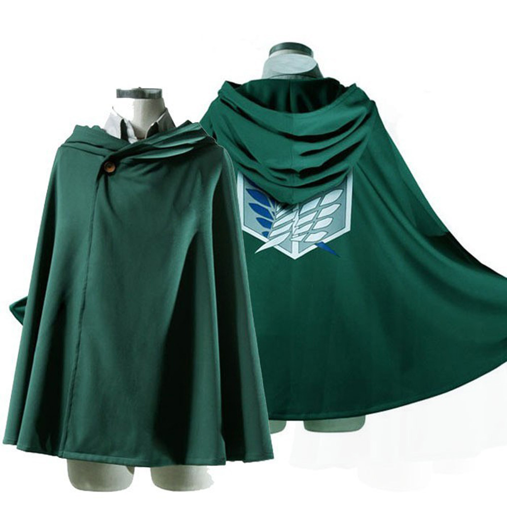 Anime Attack On Titan Costume Green Cloak Shingeki No Kyojin Cosplay Halloween Costume Hoodie Eren Levi Mikasa Scout Legion Coat