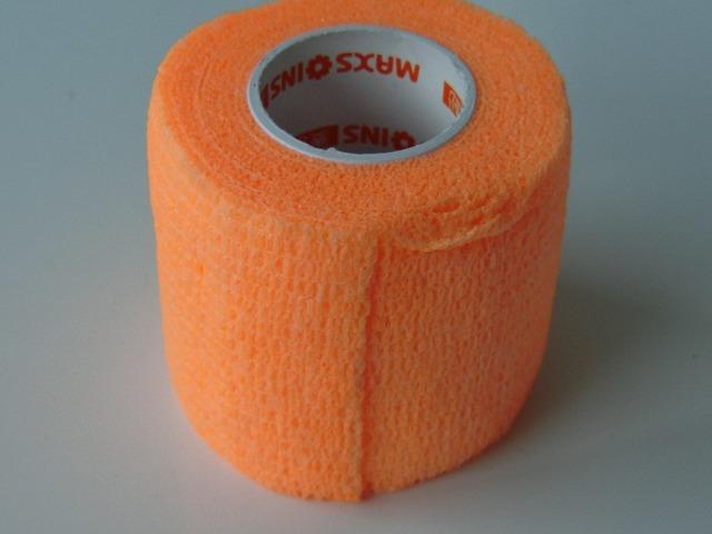 12 pcs 5 cm x 4.5 m não tecido bandagem adesiva elástica cohesive enrole fita fluorescente orange