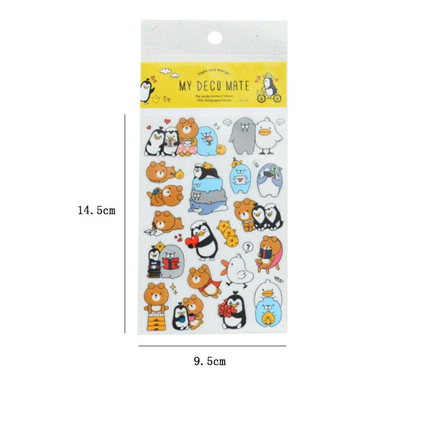 Купить с кэшбэком 3pcs/lot Cute Writing bear penguin bear Adhesive Stickers Diary Planner Decoration Stickers Scrapbooking DIY Stationery Stickers