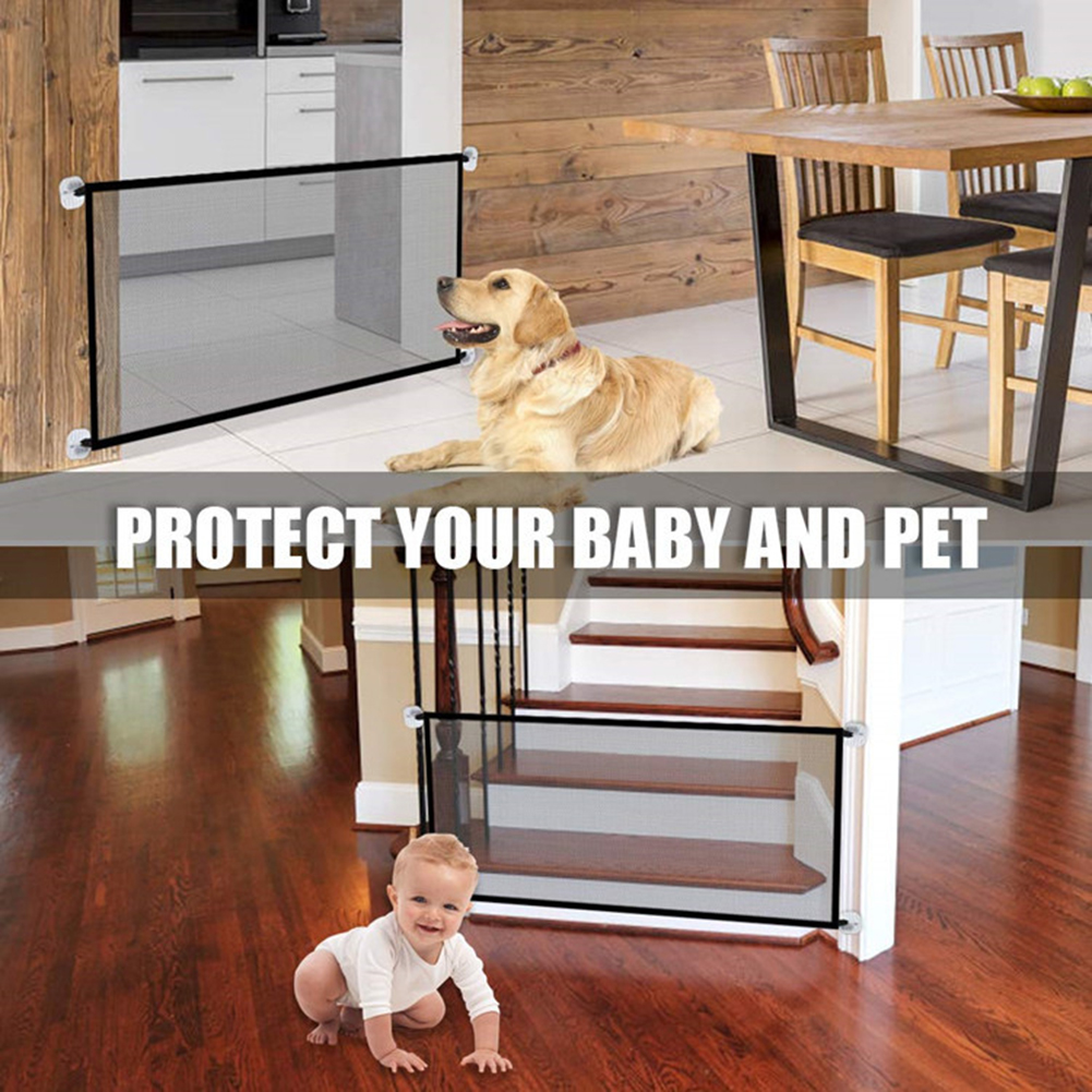 Retractable Pet Dog Gate Safety Guard Folding Baby Toddler Stair Isolation