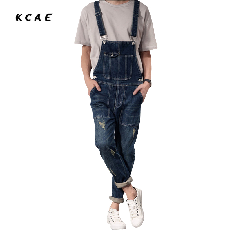 ФОТО Classic Men Plus Size S-XXL Denim Bib Overalls Multi Pockets Light Washed Blue Oversized Jean Jumpsuits For Male Big and Tall
