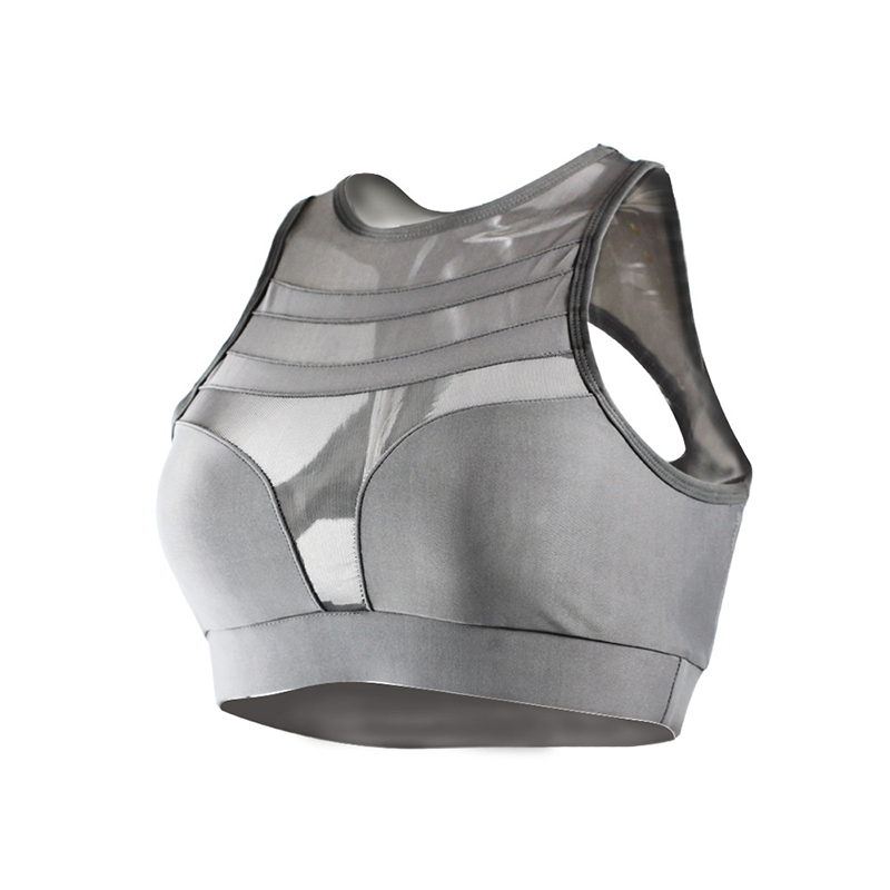 Womens Sports Bra Tops Gray Mesh Plus Size Yoga Bra Seamless Fitness Crop Top Black Ombre Cut Out Running Underwear Active Wear