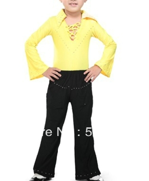 Free shipping stage performance rhinestone boy childrens latin dance leotard suit shirts with trousers