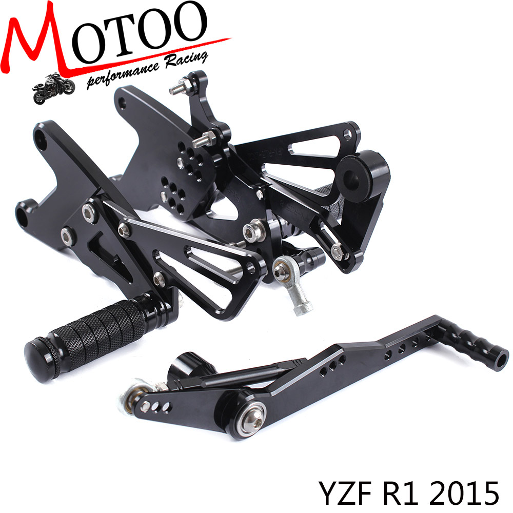 Full CNC Aluminum Motorcycle Footrest Footpeg Rearset Pedal Rear Sets Rear Set For YAMAHA YZFR1 2015-2017