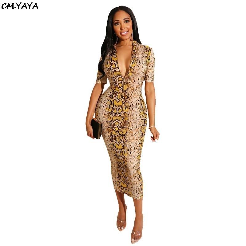 2019 Women Summer New Snake Skin Print Bodycon Midi Mid-calf Dress Zipper Up Short Sleeve Club Party Night Dresses Vestido L0264 Numerous In Variety Women's Clothing