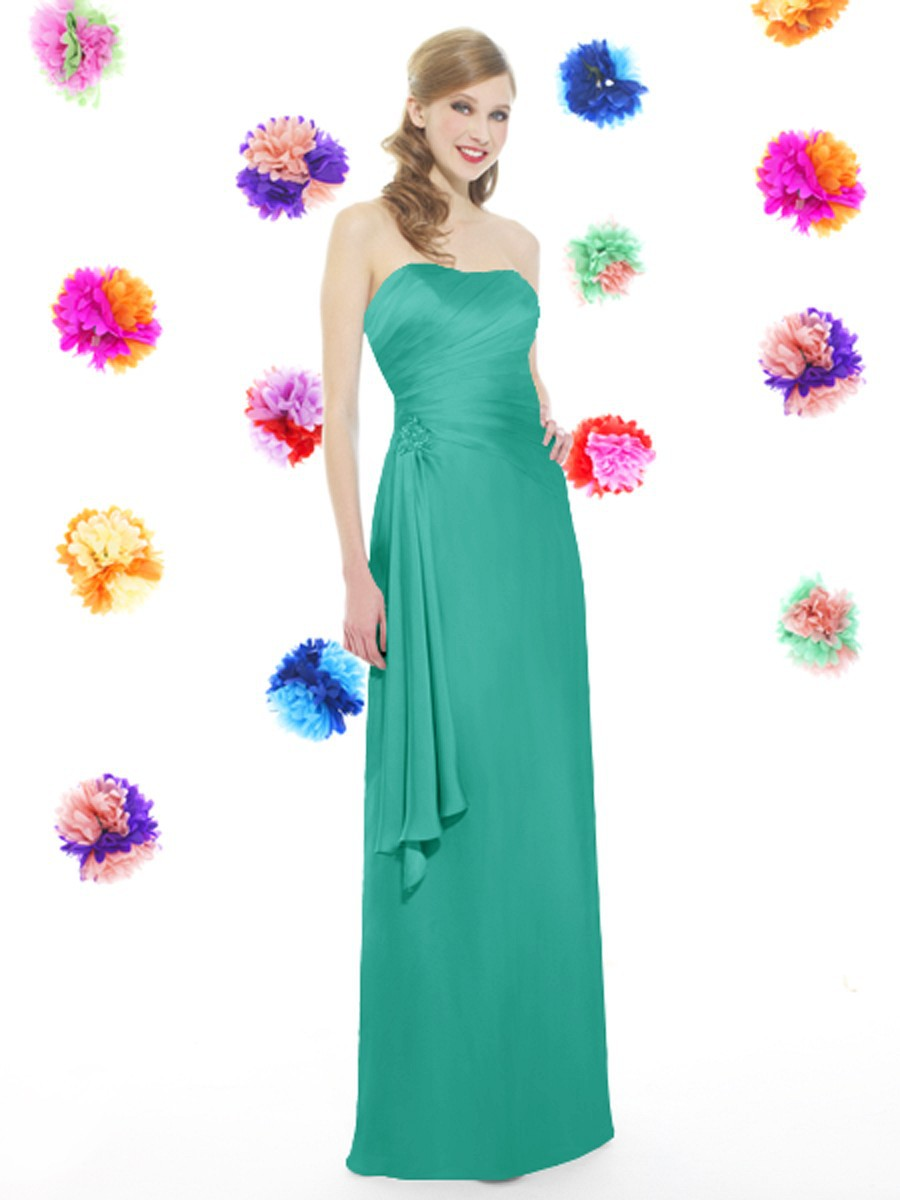 Hole Sale Strapless Pleats Green Chiffon Long Bridesmaid Dresses ...