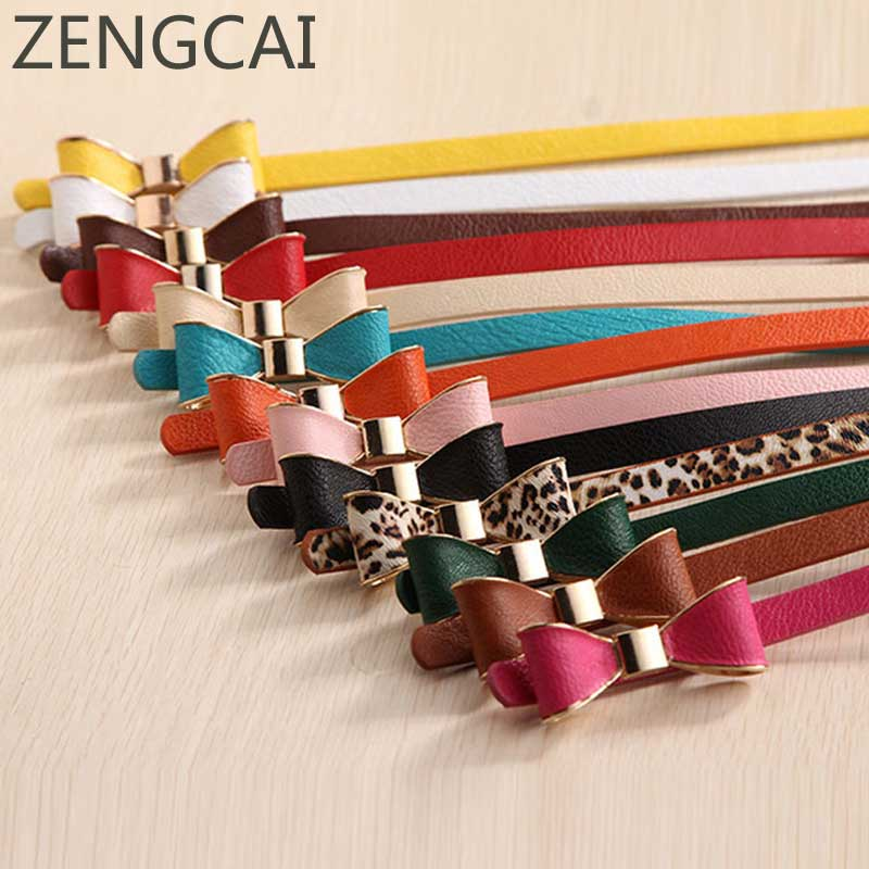 2017 Female Belts for Women Style Summer 13 Color Women Belt Luxury Brand Colorful Bow Leather Belt Ladies Waist Ceinture Femme