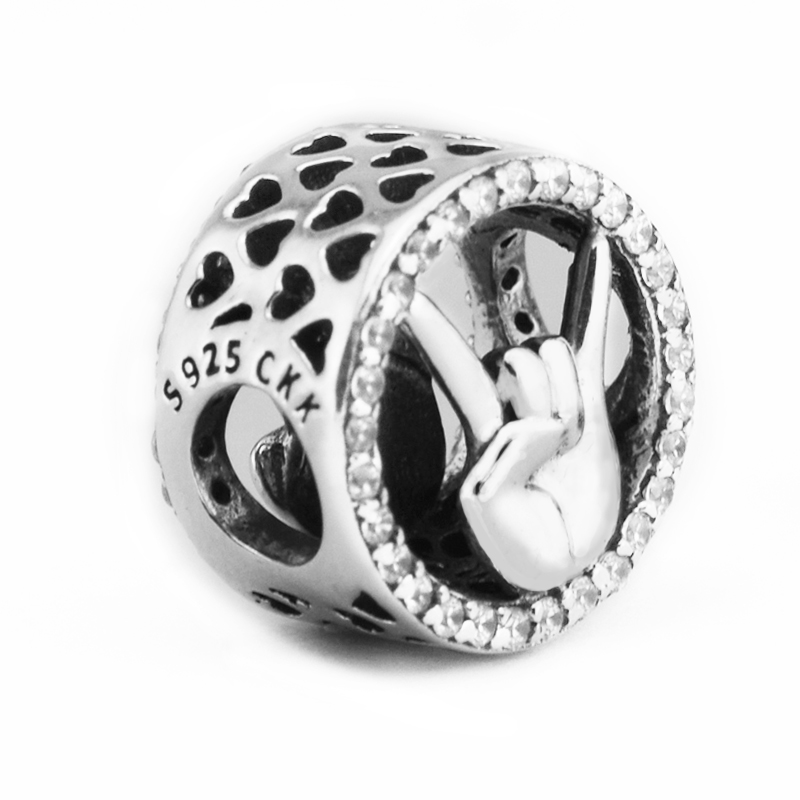 CKK Win Charm Bead Two Sides 925 Sterling-Silver-Jewelry Fit Pandor Bracelet Jewelry DIY Bead for Women Jewelry Making Gift