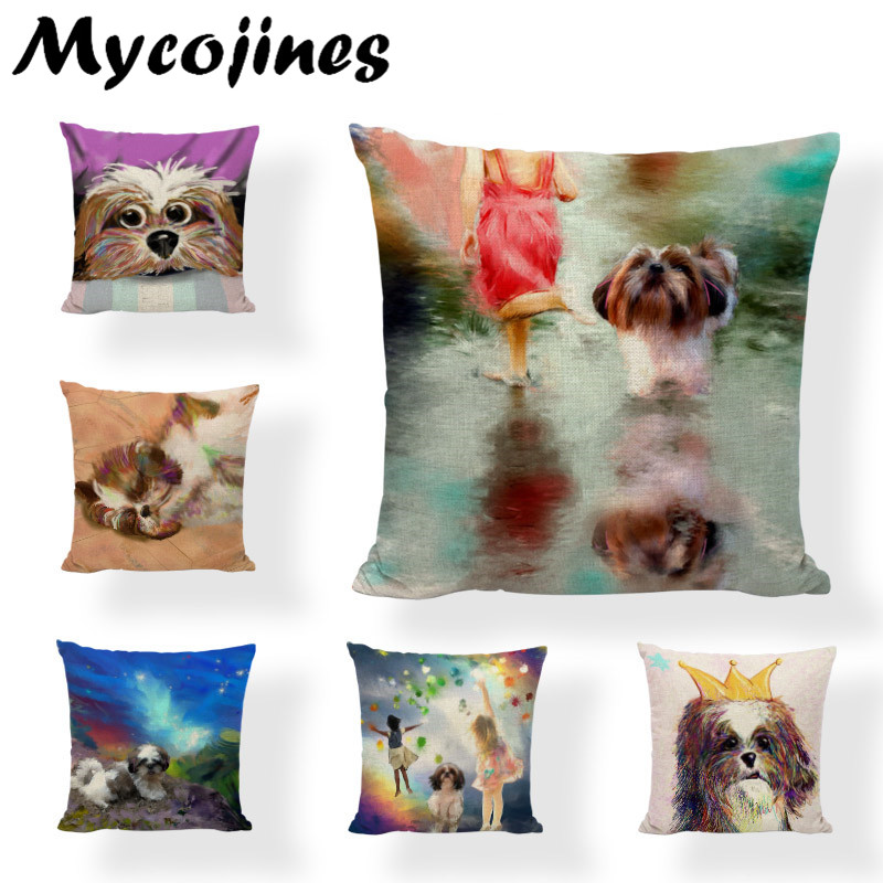 Table & Sofa Linens Home Textile Provided Cartoon Cute Dog Oil Painting Shih Tzu Cushion Cover Pillow Case 17*17in Linen Decor Home Office Couch Autumn Forest Pillowcase Price Remains Stable