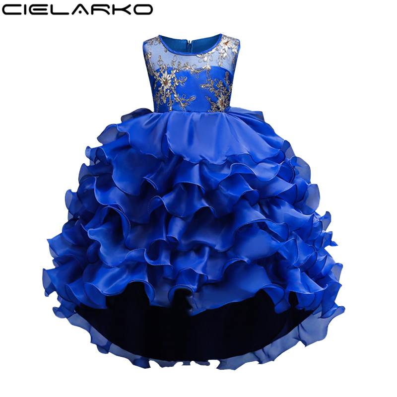 Cielarko Girl Dress Kids Flower Pageant Frock Baby tutu Wedding Party Formal Dresses Children New Year Clothes For Girl 1