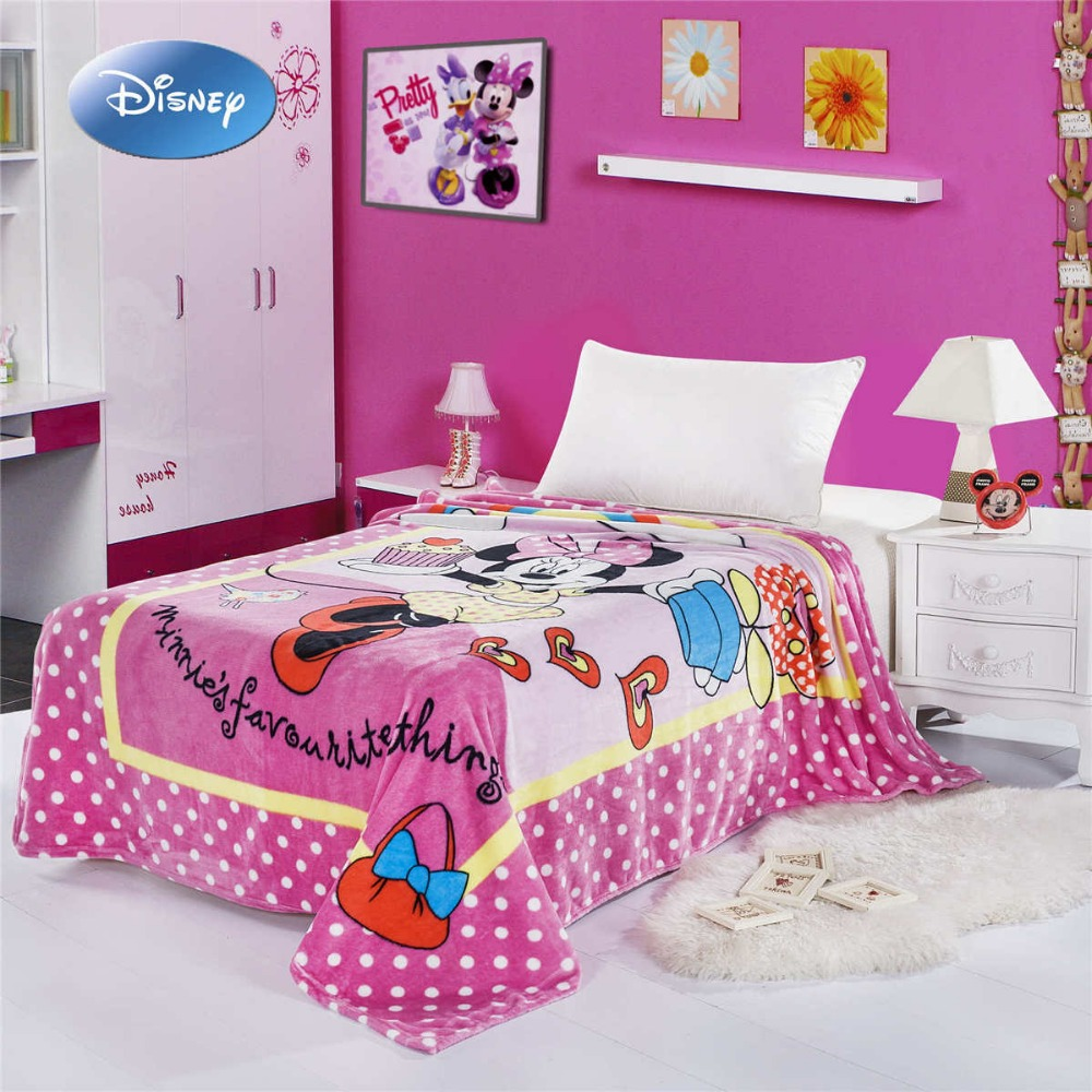 Disney Minnie Mouse Cake Printed Blanket  150*200CM Girls Bedroom Decor Cartoon Characte Deep Pink Polyester Coral Fleece Fabric