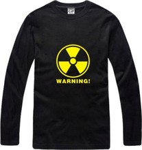 New Men's long sleeve T shirt Nuclear Radiation Sign Warning Top Casual Hooded Fashion