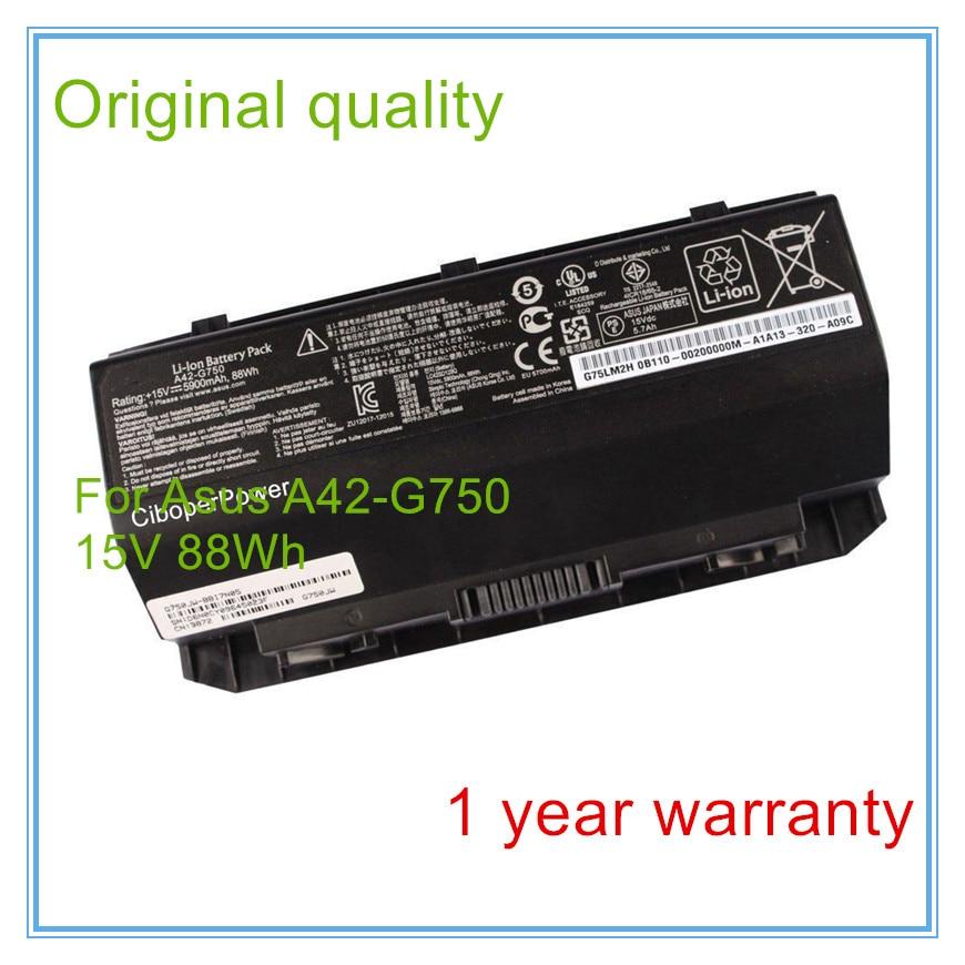 15V 88wh Original A42-G750 Battery for ROG G750 G750J G750JH G750JM G750JS G750JW jinhui dhwani 18k 750 0 08 jh bs4576