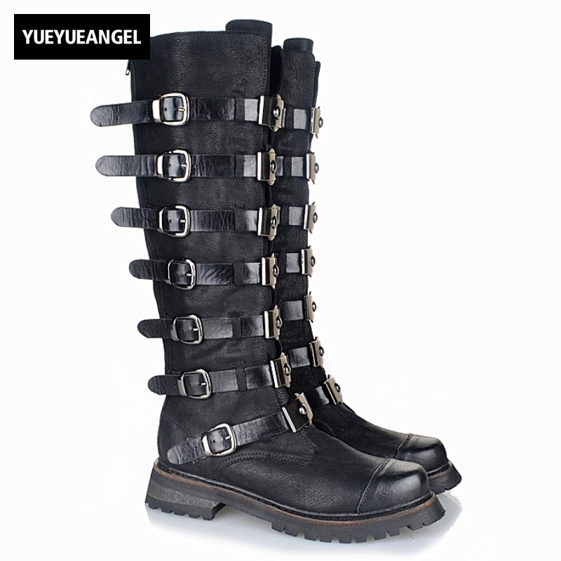 Designer Handmade Women Shoes Street Genuine Leather Buckle Strap Thigh High Boots Winter Thick Heels Knee High Boots Plus Size women fashion boots round toe super high thick heels knee high buckle decoration ankle strap women snakeskin designer boots