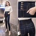 2016 autumn women's high waist skinny jeans Female casual slim denim pencil pants Plus size long trousers