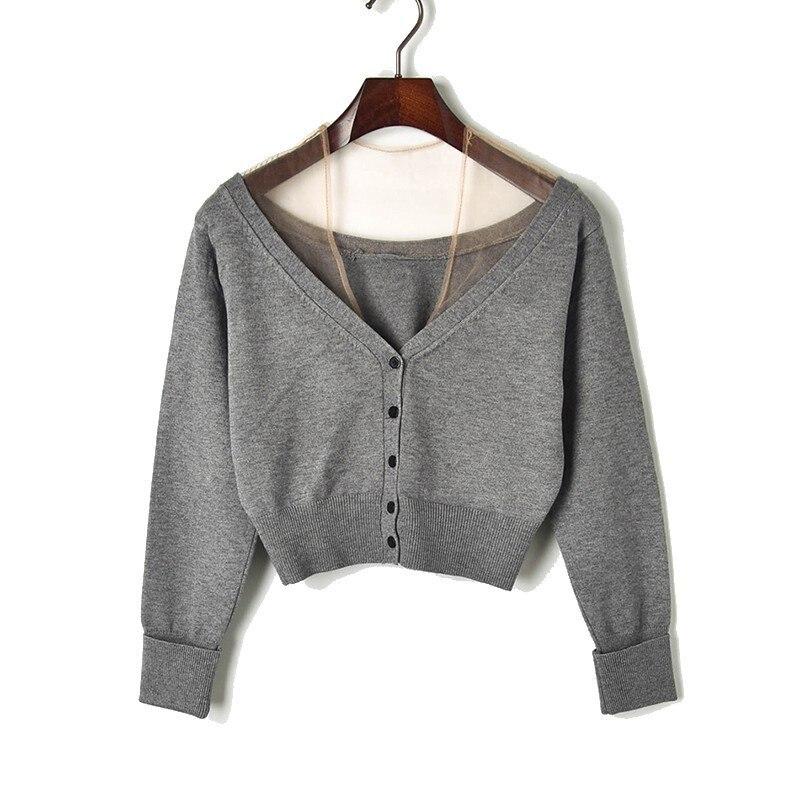 Sexy col en v voir à travers maille crop pull taille haute style court slim tricoté cardigan femmes vêtements streetwear noir/gris