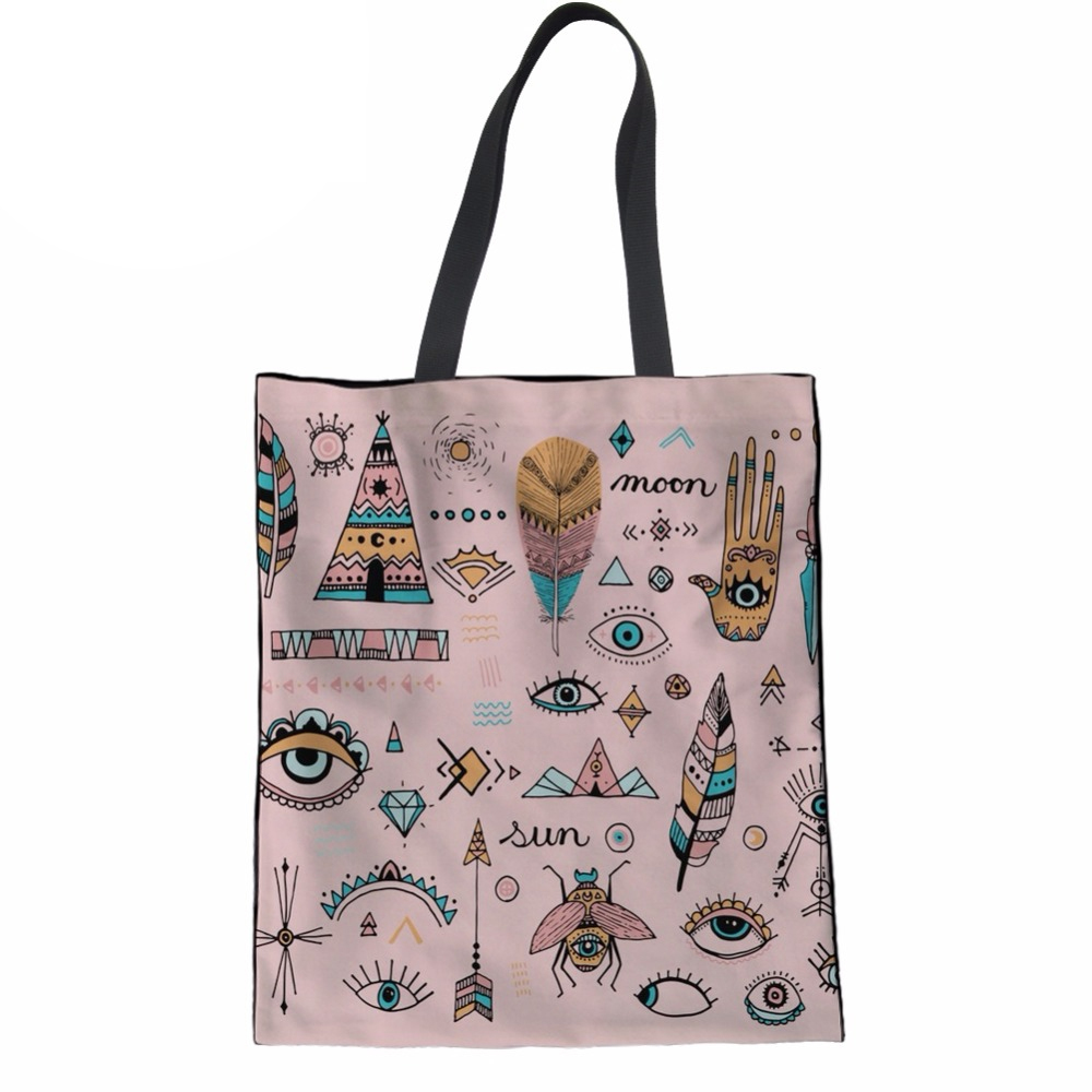 NoisydesignsBoho Vibes Guitar Printing Women Coth Bag Female Handbags Large Shopping Tote Bag Ladies Hand Bags Beach Package Bag