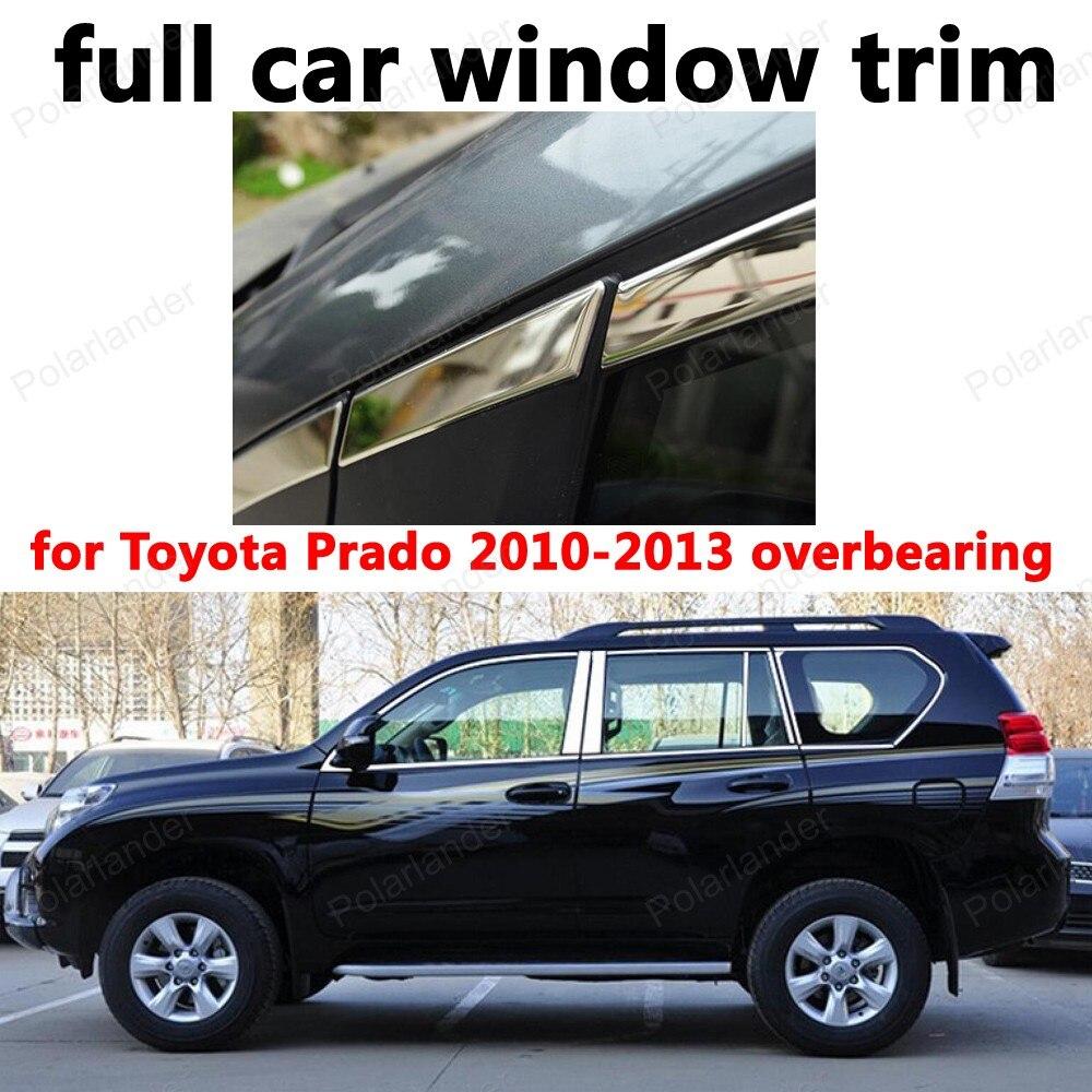 Pour Toyota Prado 2010-2013 roulement complet garniture de fenêtre en acier inoxydable voiture style décoration bandes