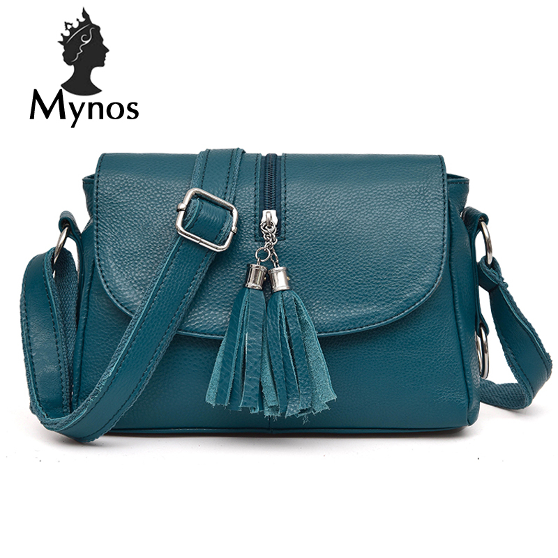 MYNOS Women Messenger Bag 100% Genuine Leather Vintage Tassel Crossbody Bag For Women SAC A MAIN Femme Small Bolsas Bag Female kzni genuine leather bag female women messenger bags women handbags tassel crossbody day clutches bolsa feminina sac femme 1416