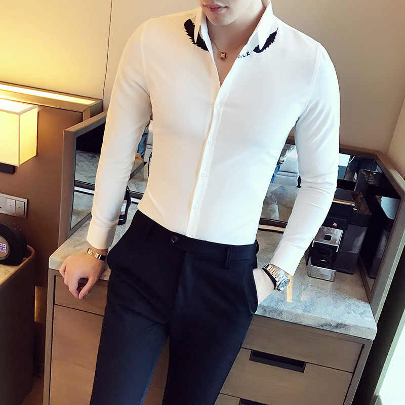 a8aeb5f5ceb British Style Shirt Men 2018 Spring New Slim Fit Tuxedo Shirts Mens Long  Sleeve Embroidery Business