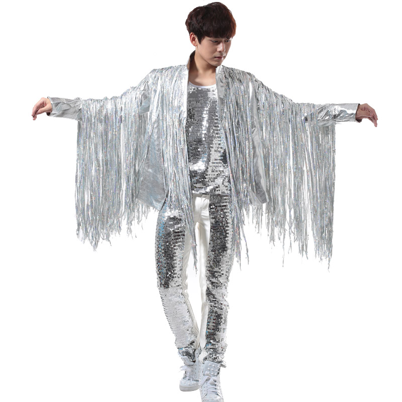 Nightclubs Men's Men's Singing Bars DJ Rock Punk Silver Tassels Apparel Suits Leather Clothing Performance Costumes Men