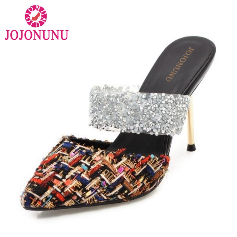 JOJONUNU Size 32-43 Women Mature High Heel Sandals Pointed Toe Thin Heels Slippers Women Sexy Summer Club Shoes Women Footwears