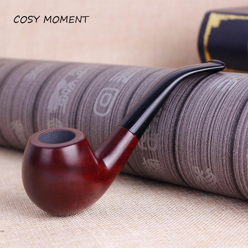 CONFORTABLE MOMENT Vintage Rond Rouge Pipe En Bois Portable 9mm Filtre Tabac Pipes Hommes Cadeau SM009